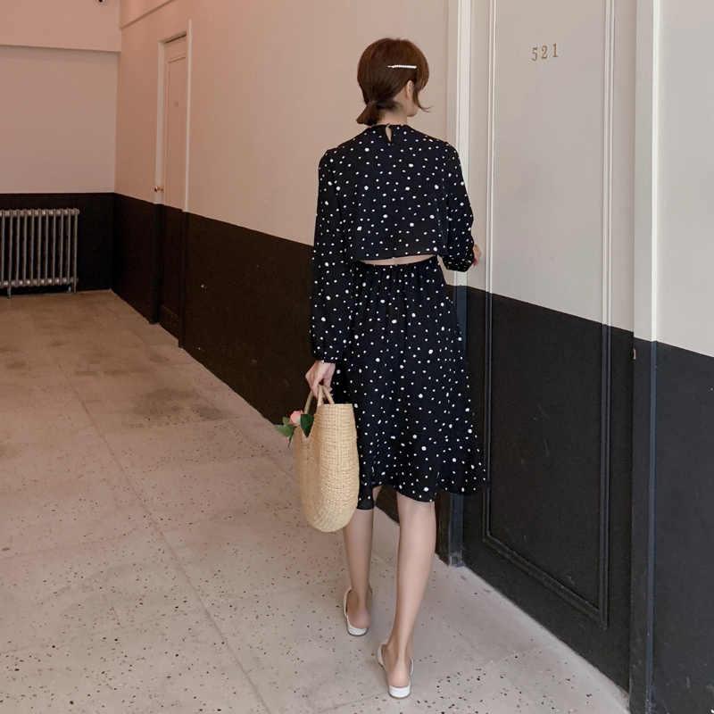 2019 летние женские платья весенние повседневные богемные с длинным рукавом гофрированные миди праздничные пляжные платья в горошек для женщин