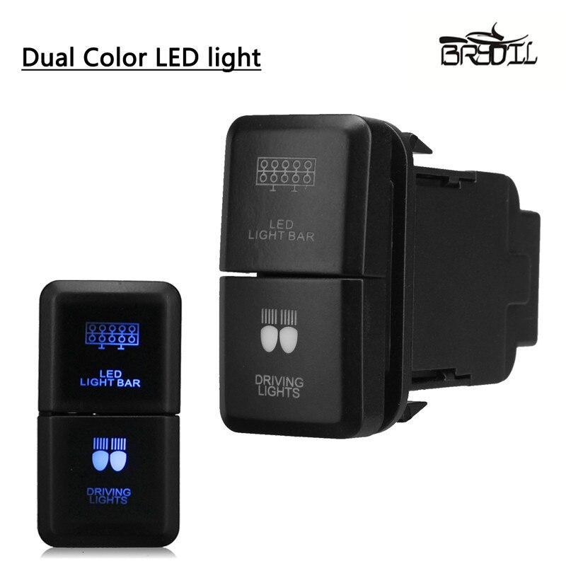 12V Push Switch Dual Blue LED Light Bar For Toyota Prado Hilux Land FJ Cruiser