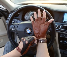 Men genuine leather gloves male sheepskin mechanic men driving