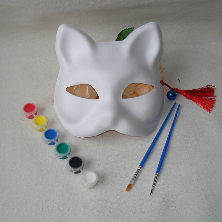 Fox Breeze Blank mask DIY Handmade Naruto Unpainted Blank White Sexy Women Party Masks Masquerade Mask Cat Cosplay Costume