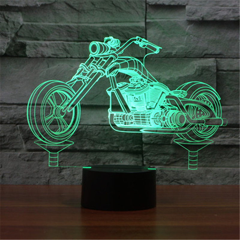 Classic Locomotive Colorful Sport Patterns Acrylic Touch Table Lamp Bar Art Decor USB 3D Visual LED Desk Night Lights 3D-TD265 three dimensional 3d visual reading lights wood acrylic clear small lamp button type led stereo night light folding book lights