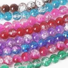 40-100 pces 4 6 8 10mm duplo colorido crackle grânulos de vidro redondo solto espaçador grânulos para fazer jóias diy charme pulseira
