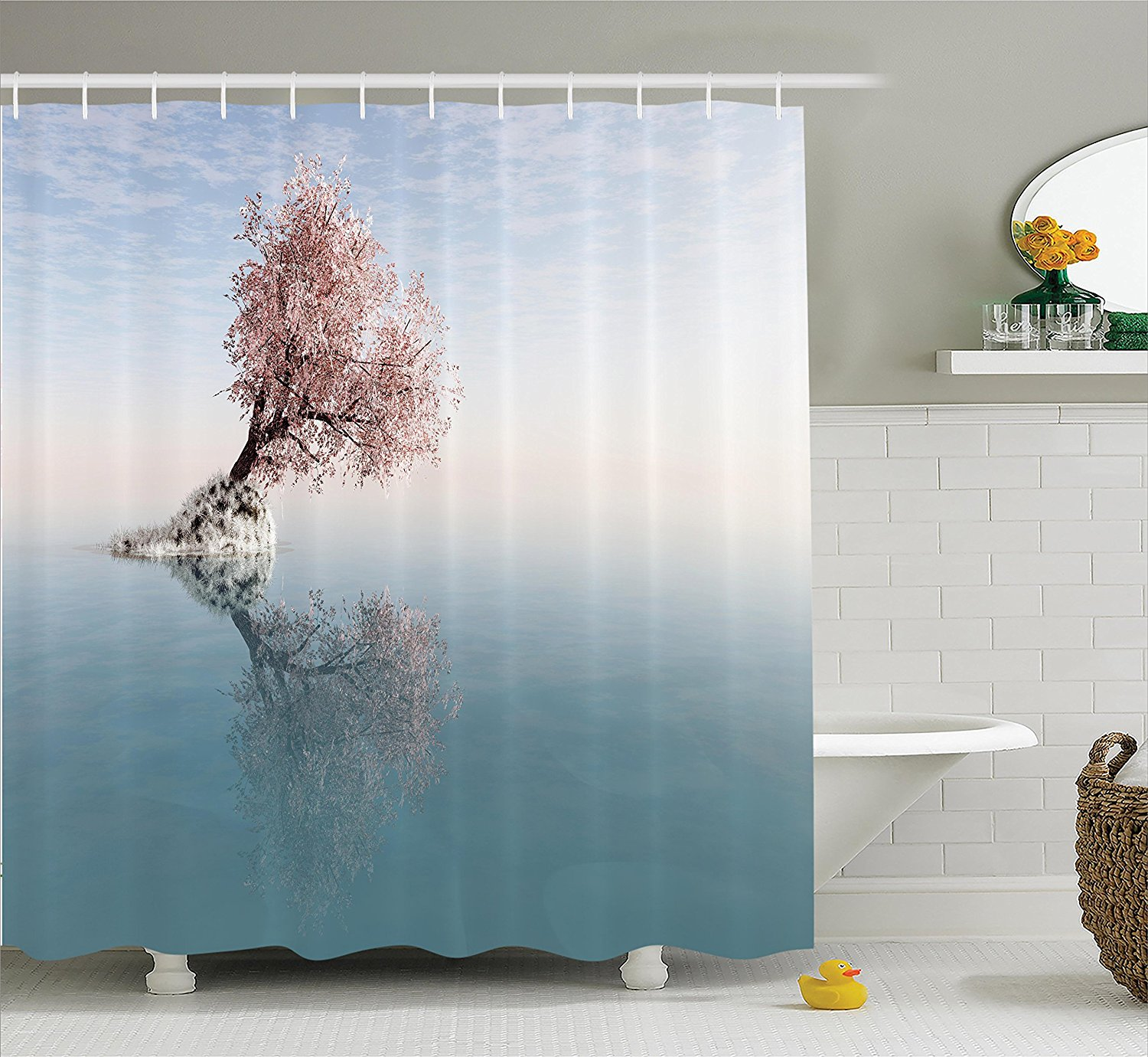 Shower Curtains That Open In The Middle.Us 13 02 43 Off Farm Decor Shower Curtain Flower Tree In The Middle Of Lake With Reflection In The Water Magical Scenic Bathroom Set In Shower
