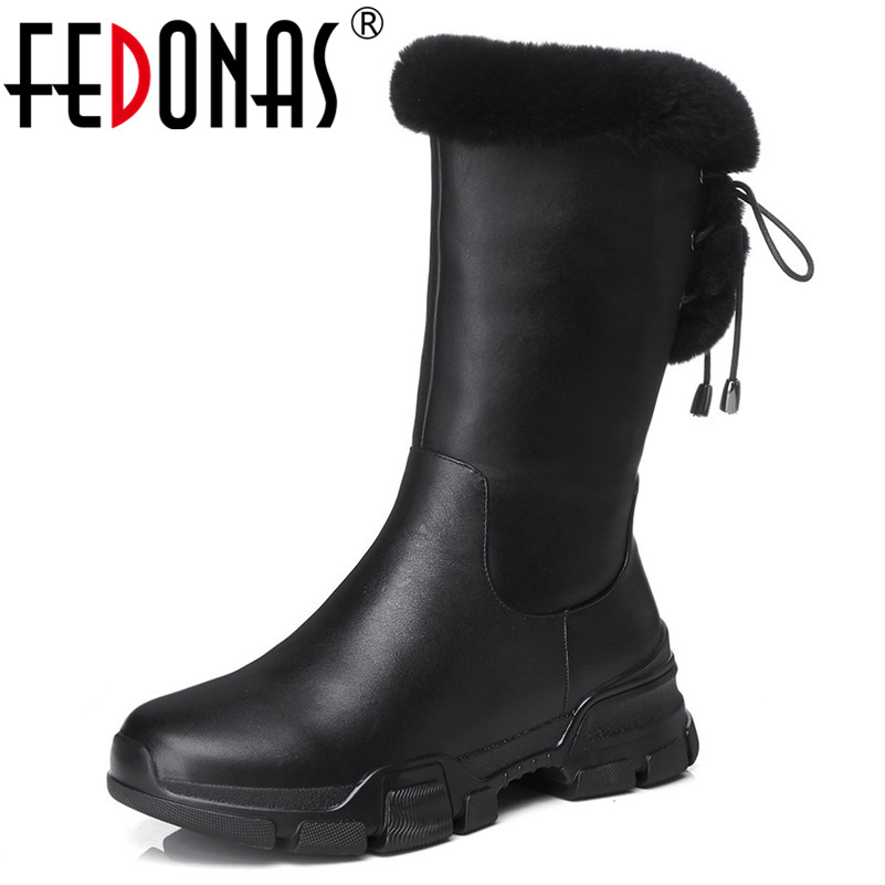 FEDONAS New Black Women Mid-calf Boots Platforms Warm Winter Snow Boots Lace Up Platforms Long Martin Shoes Woman High Boots цена