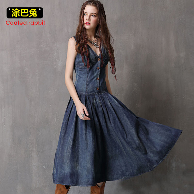 df0116a3603 Coated rabbit Vintage Denim dress women Casual Summer dress 2018 V-Neck  Button Sleeveless Slim jean dresses vestidos