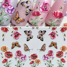 Flower Butterfly 3D Nail Sticker Water Transfer Decal Sliders Nail Art DIY Manicure Nails Sticker Professional Nails Embossed 1pcs nail sticker butterfly flower water transfer decal sliders for nail art decoration tattoo manicure wraps tools tip jistz508
