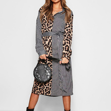 2019 Autumn Shirt Dresses Women Plus Size Striped Leopard Patchwork Office Lady Sashes Maxi Dress Long Sleeve Vestidos