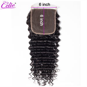 Image 1 - Celie Hair 6x6 Lace Closure Brazilian Deep Wave Closure Pre Plucked Remy Swiss Lace Human Hair Closure Bleached Knots 10 20 inch