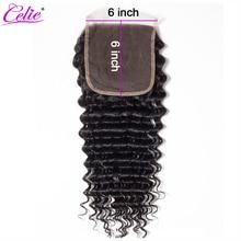 Celie Saç 6x6 Dantel Kapatma Brezilyalı Derin Dalga Kapatma Ön Koparıp Remy Swiss sırma insan saçı Kapatma Ağartılmış Knot 10  20 inç