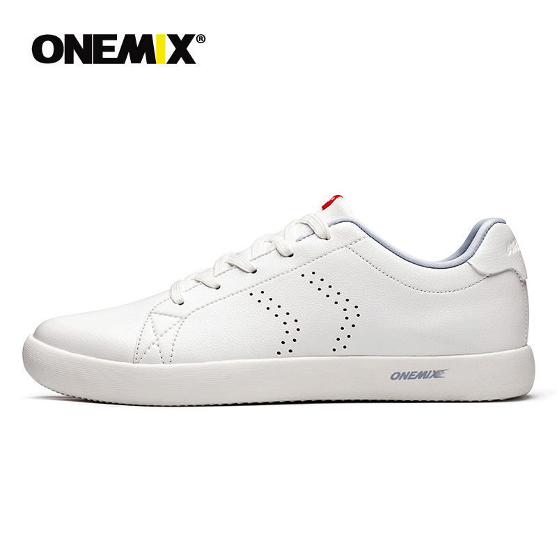 ONEMIX Men White Casual Shoes Black Skateboarding Shoes Sport Trainers Lightweight Running Sneakers
