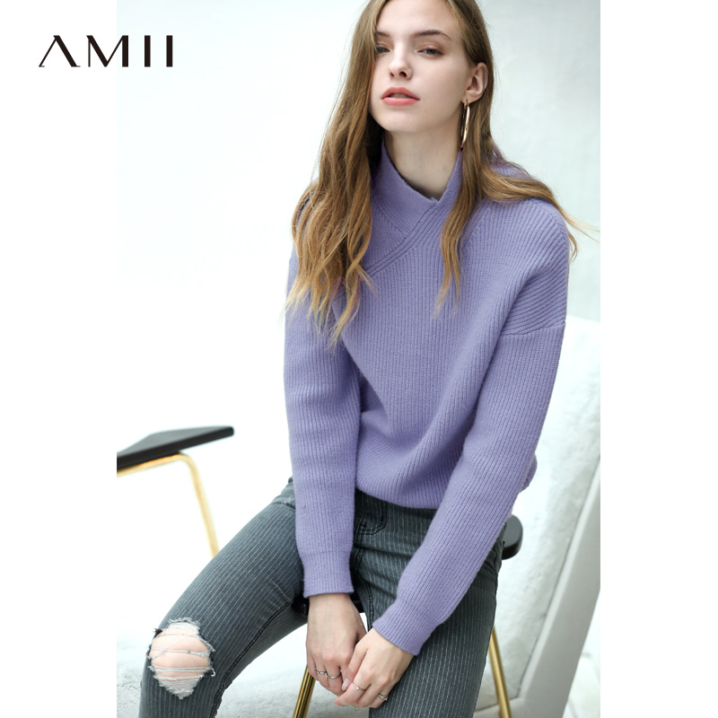 Amii Vintage V Neck Sweater Women Autumn 2019 Causal Solid Long Sleeve Thick Loose Female Pullover