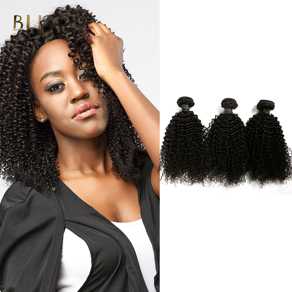 BlissHair Brazilian Baby Deep Curly Hair Weave 3 Bundles-Remy Human Hair Weaving Natural Color 8-20 inch Free Shipping (Black)