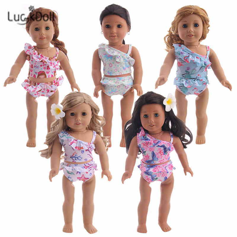 LUCKDOLL Swimsuit Fashioh Suit Fit 18 Inch American 43cm Baby Doll Clothes Accessories,Girls Toys,Generation,Birthday Gift