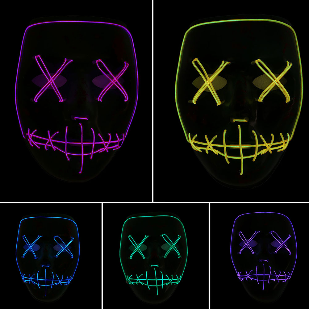 Halloween LED Glowing Mask Helloween Party Ghost Face Mask Luminous Children Toys Cold Mask Festival Carnaval Supplies