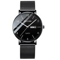 2019 мужские часы, ультра тонкие, стальные, сетчатые, кварцевые наручные часы, двойной календарь, простые, черные, мужские часы Hodinky, мужские ча...