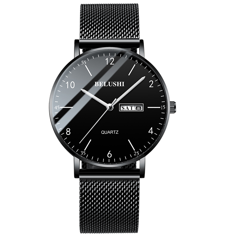 2019 Men Watch Ultra Slim Steel Mesh Quartz Wristwatch Dual Calendar Simple Black Clock Male Hodinky Man Watch Relogio Masculino