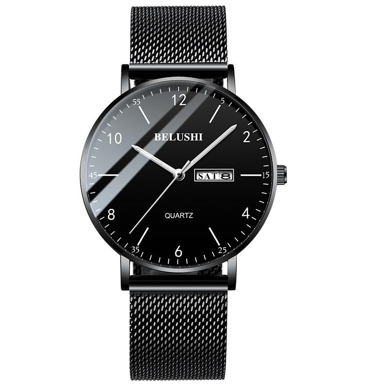 2020 Men Watch Ultra Slim Steel Mesh Quartz Wristwatch Dual Calendar Simple Black Clock Male Hodinky Man Watch Relogio Masculino