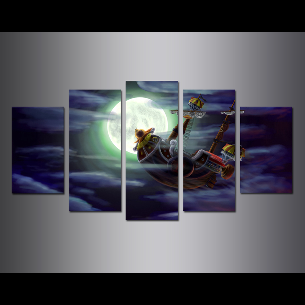 Unframed Canvas Painting Animation One Piece Full Moon Pirate Ship Giclee Prints Pictures For Living Room Wall Art Decoration
