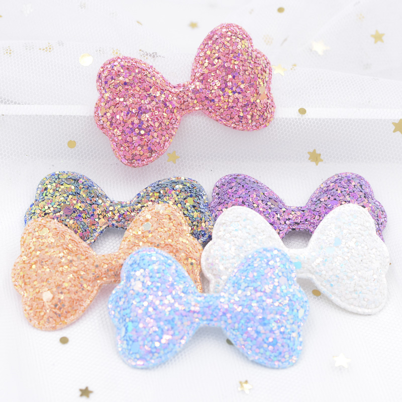12Pcs 55mm Shiny Fabric Padded Patches Glitter Bow Tie Appliques For Craft Clothes Stickers Supplies DIY Hair Clips Ornament S04