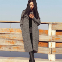 2016 Sweaters Women Fashion Solid Knit Cardigans Sweater Ladies Long Knitted Sweaters Skirted Outwear Coat Gray Camel Color