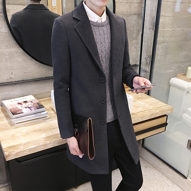2016 new autumn and winter men's Korean casual fashion trends Slim single-breasted solid color long section woolen coat XL