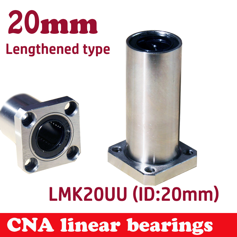 Free shipping LMK20LUU long type 20mm flange linear bearing CNC Linear Bush 42l w025 free shipping long type lmk40 luu 40 60 154mm 40mm square flange long linear bearing for cnc parts