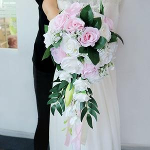 Image 2 - Meldel Bride Waterfall Wedding Bouquet Bridesmaid Wedding Flower Vintage Rose Flower Marriage Party Supplies Luxurious Bouquet