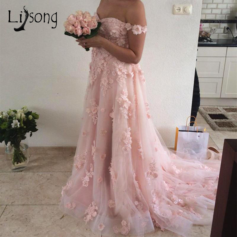 Pretty 3D Flower Tutu   Evening     Dresses   2018 Sweetheart Off Shoulder Lace A-line   Evening   Gowns Pink Formal Party   Dress   Lace Up