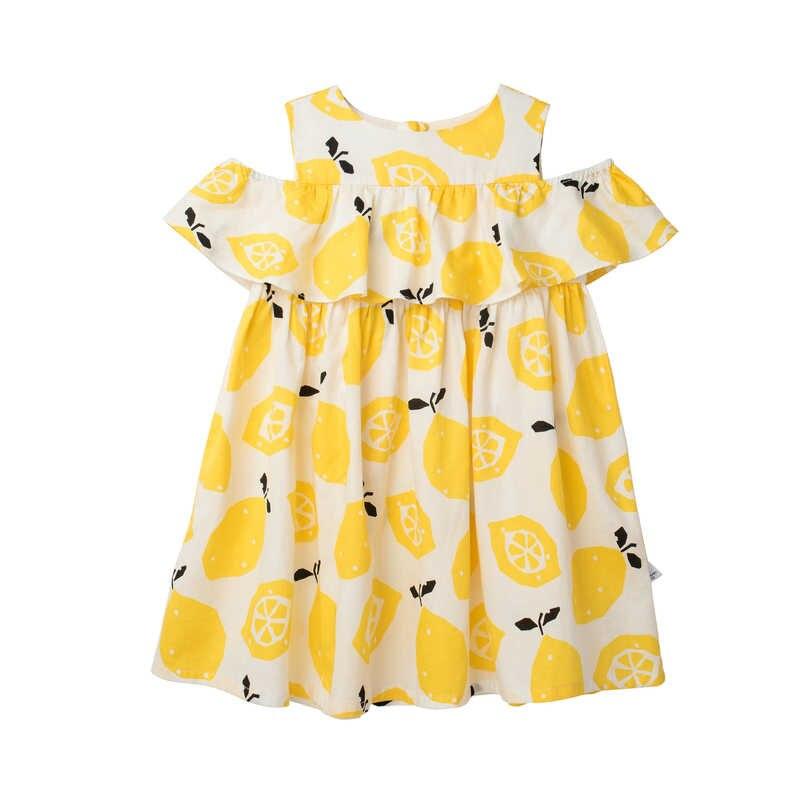 MiniBalabala для маленьких девочек 100% хлопок с открытыми плечами; с эластичной резинкой с отделкой рюшами Для детей девушка платья раструбом летний сарафан