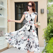 2017 Spring Women Sexy Dress Ladies Elegant Sleeveless  Floral  Dresses Mid-calf