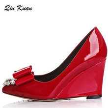 d085e54d94024 Fashion Women Sexy Pointed Toe Japanned Leather Party High Heel Shoes New  Style Ladies Rhinestone Wedge