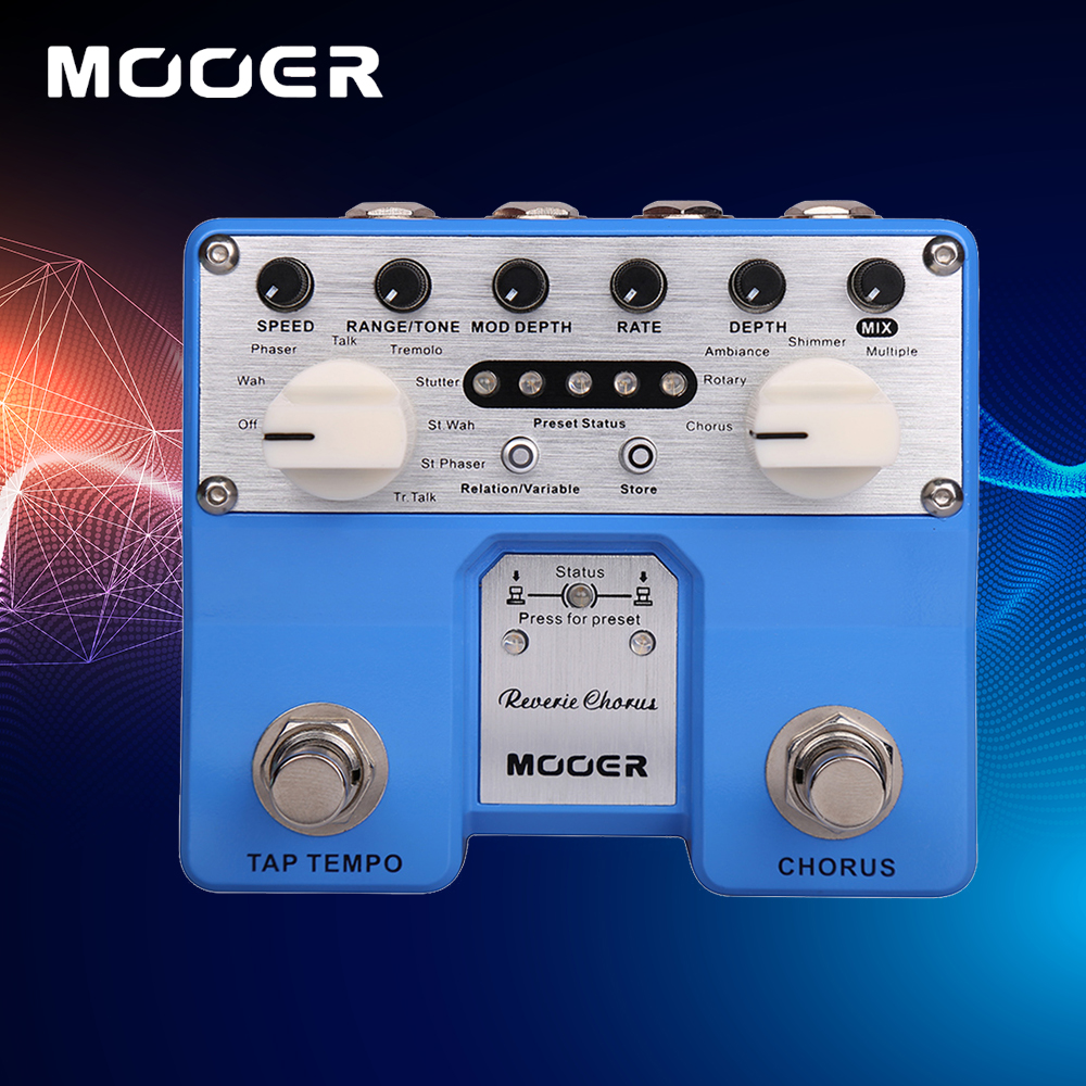 Mooer Reverie Chorus Twin Series Two-Channel Stereo 5 Modes Digital Chorus Pedal With True Bypass mooer ensemble queen bass chorus effects pedal