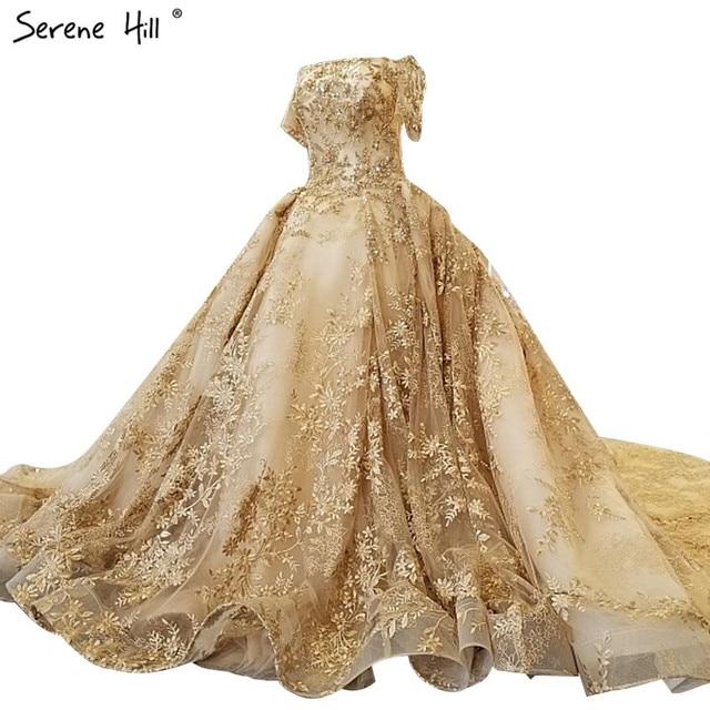 Extreme Luxury High End Fashion Y Wedding Dress 2018 Short Sleeve Beading Sequined Sparkly Bridal