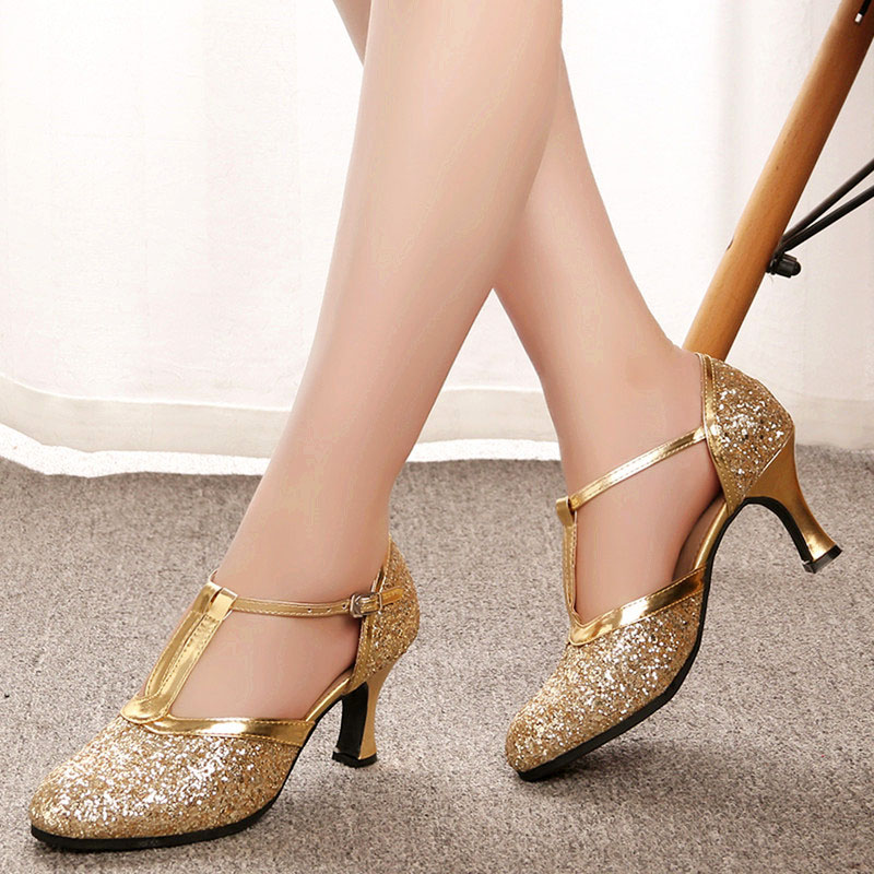 Image 2 - Gold Women Shoes Women Pumps Latin Dance Shoes heeled Low Heels Female Wedding Party Shoes Gold Silver Drop Shipping-in Women's Pumps from Shoes