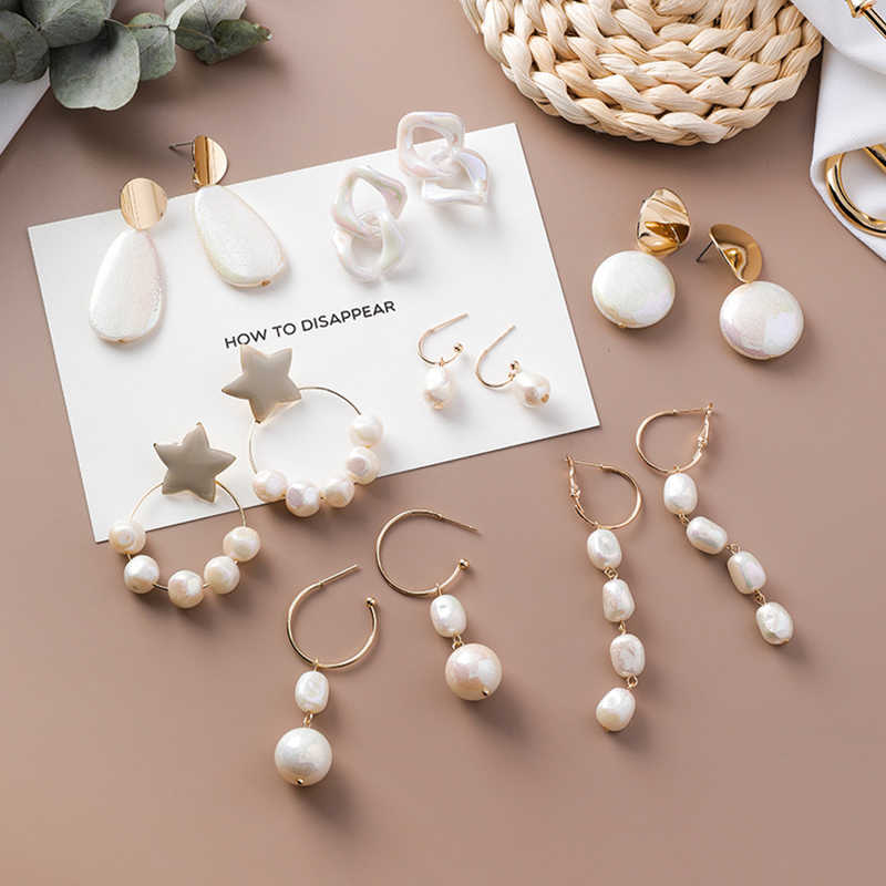 2019 New Korean Acrylic Symphony Simulated Pearl Shell Metal Long Tassel Drop Earrings Sweety Jewelry For Women Pendientes Gift