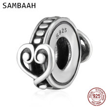 Sambaah Swirling Hearts Affection Charm 925 Antique Sterling Silver Heart Love Beads fit Pandora Valentines Day Bracelet SS2671