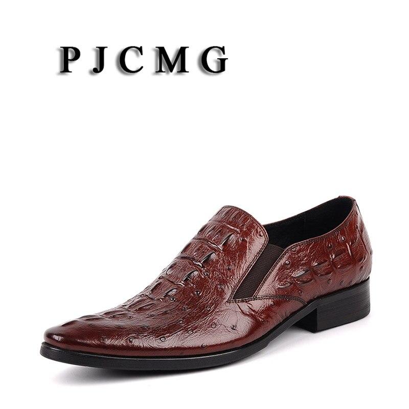 Mode Casual Pointu rouge Cuir En Bout Homme Formelle Black Pjcmg Richelieus Noir Robe Nouvelle Véritable red Confortable Slip Plat Classique on Chaussures qwZSx5P4C
