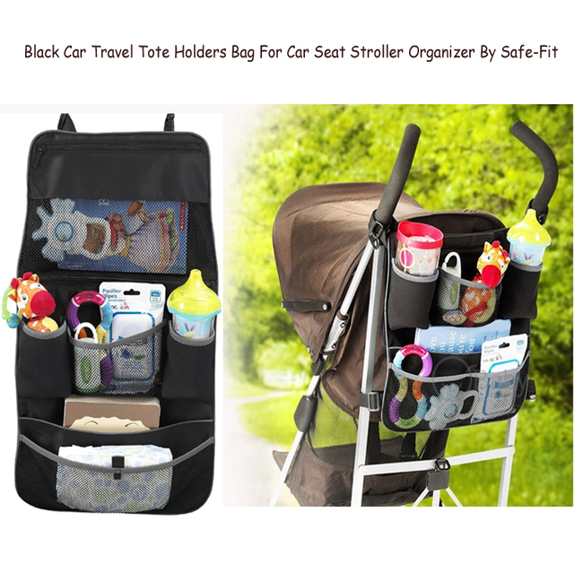 Black Car Travel Tote Holders Bag For Car Seat Stroller Organizer By