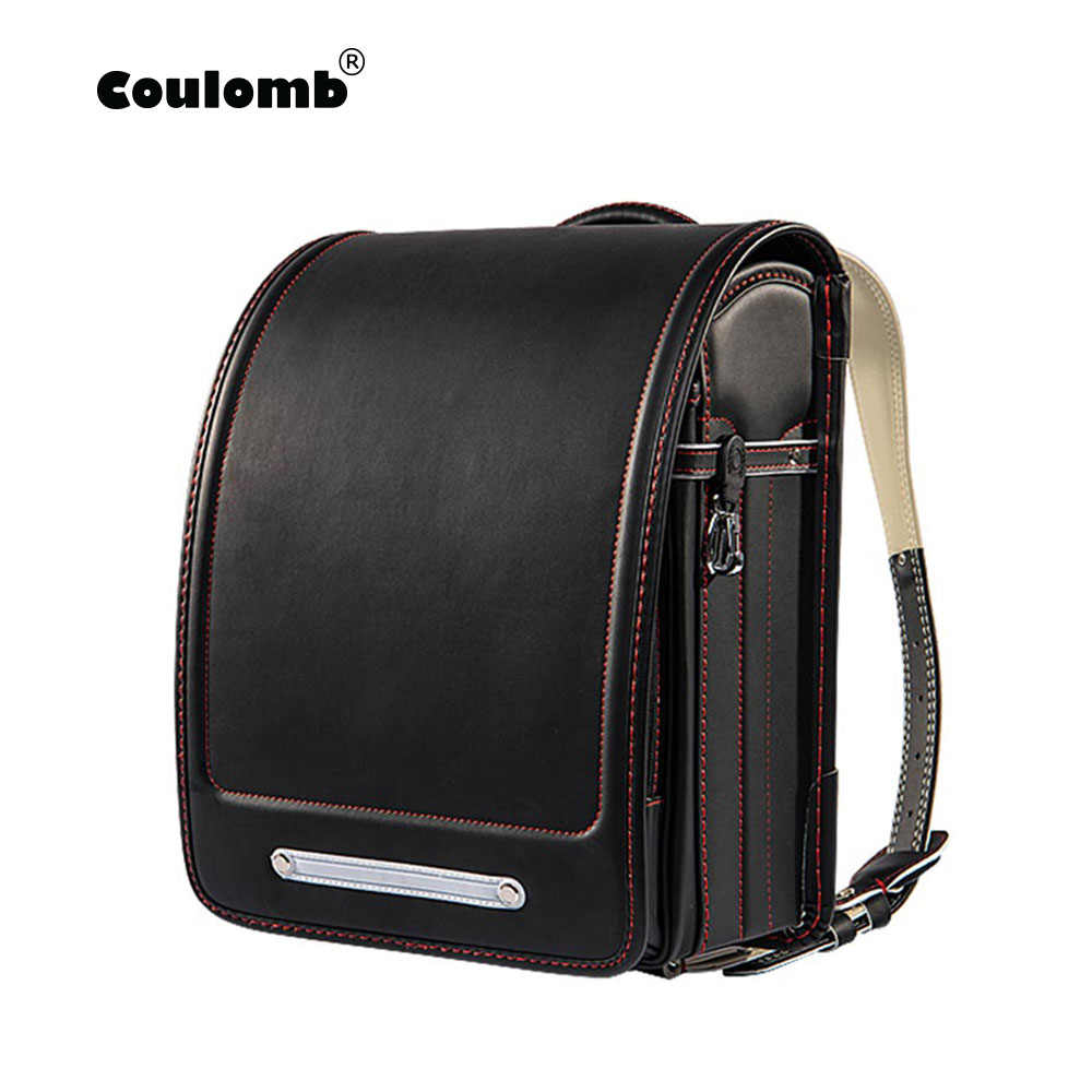 Coulomb Orthopedic School Backpack For Children School Bag For Kids Japanese PU Solid Student Randoseru Bags
