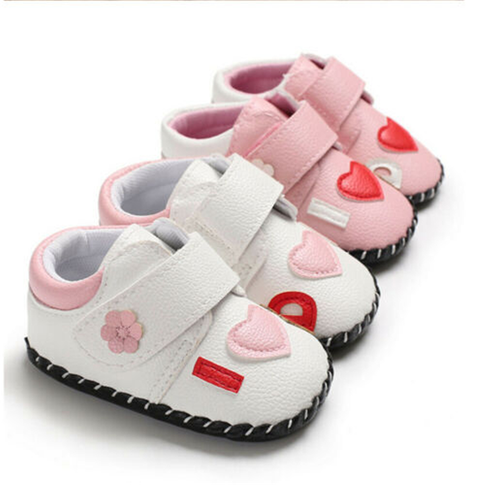 Newborn Baby Girl Shoes Anti-slip Soft Shoes Leather Sneakers Prewalker Shoes US