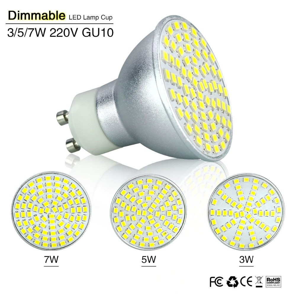 Led Spot Gu10 Lampada Led Spotlight Dimming Gu10 Led Bulb Gu 10 Bombillas Led Lamp Refletor Ac 220v 3w 5w 7w Spot Light Dimmer Indoor Lighting