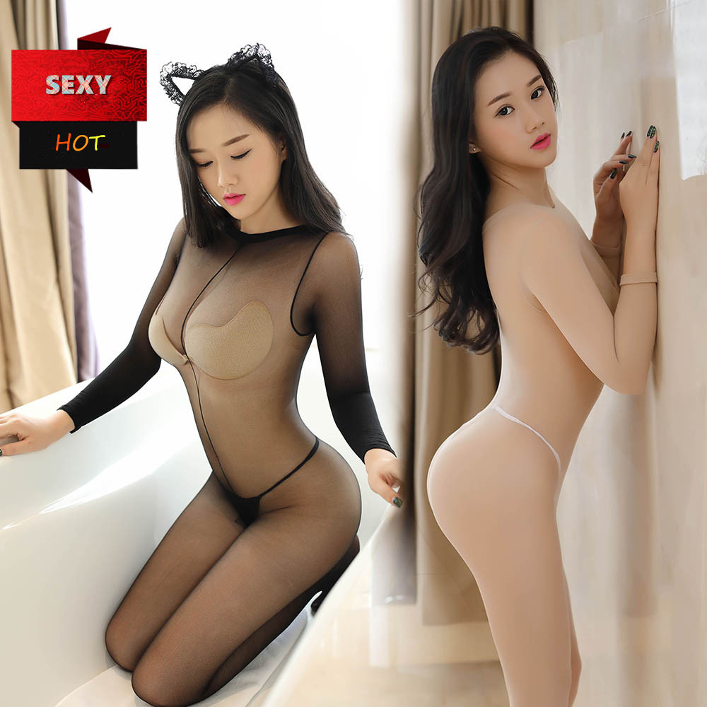 Hot  Women Erotic Lingerie Stockings Transparent Open Crotch Mesh Bodystocking Fishnet Babydoll Crotchless Bodysuit Underwear 16