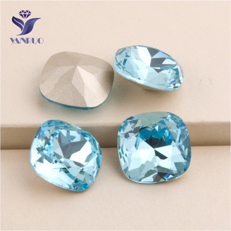YANRUO #4470 All Sizes Aquamarine Cushion Cut Crystal Loose Beads Glass Stones Point Back Strass Rhinestone For Clothes
