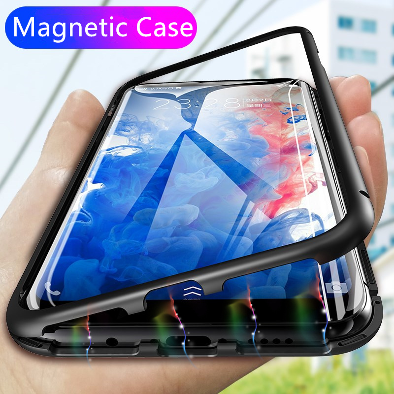 360 Magnetic Adsorption Phone Case for For Samsung Galaxy S9 S8 Plus Tempered Glass Back Magnet Cover On The Note 9 8 Hard Case(China)