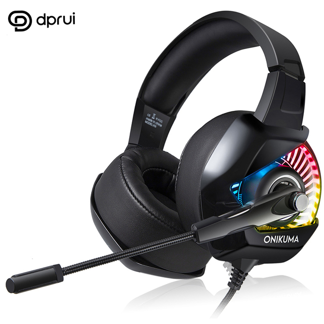 DPRUI Gaming Headset For PS4 Noise Canceling Headphone Subwoofer Headphone For Computer LED Light With Mic For Headset Gamer