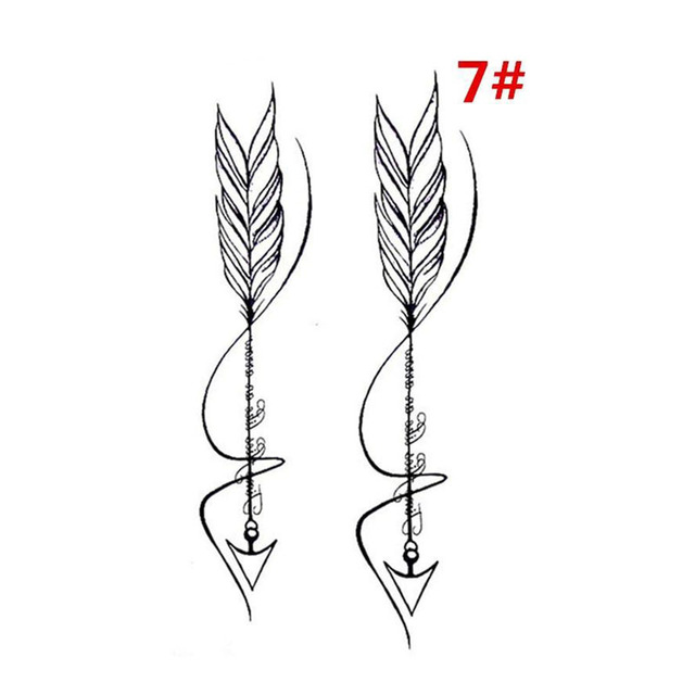 Sale New Sweet Blue Feather Flower Arm Back Temporary Stickers Female Men Couple Disposable Tattoo Stickers Fashion Body Art 1