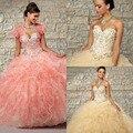 Beading Doce Amarelo/Rosa Vestidos Quinceanera Bola Vestidos Vestidos De Debutante Vestidos de Quinceaneras 2015 Vestidos De15 anos