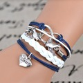 Free shipping 2017 Fashion Infinity love Birds sister Charm Bracelet Handwoven leather Bracelet Women Best Gift Christmas Gift