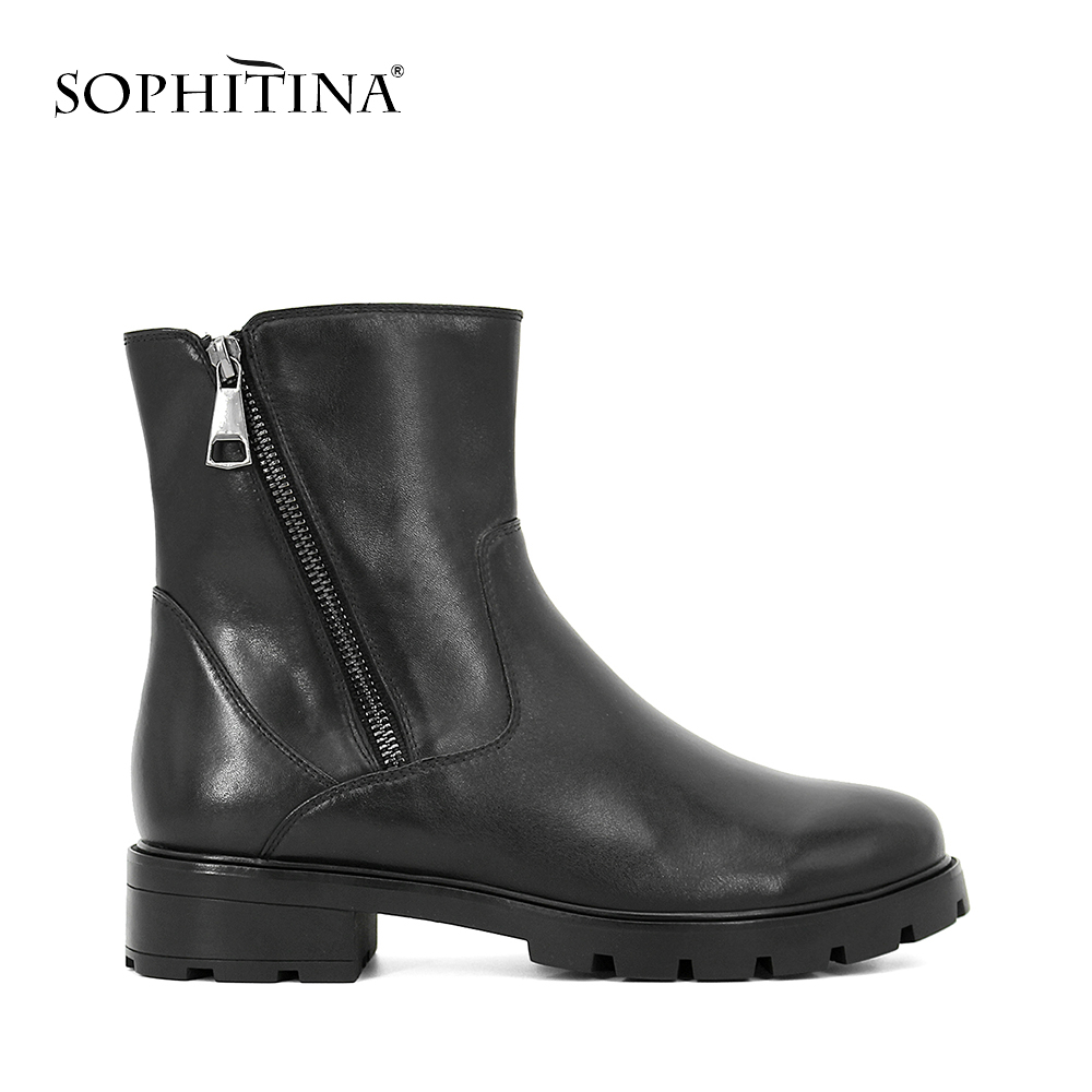 SOPHITINA 2019 Hot Sale Handmade Ankle Boot High Quality Cow Leather Round Toe Shoes Soft Square