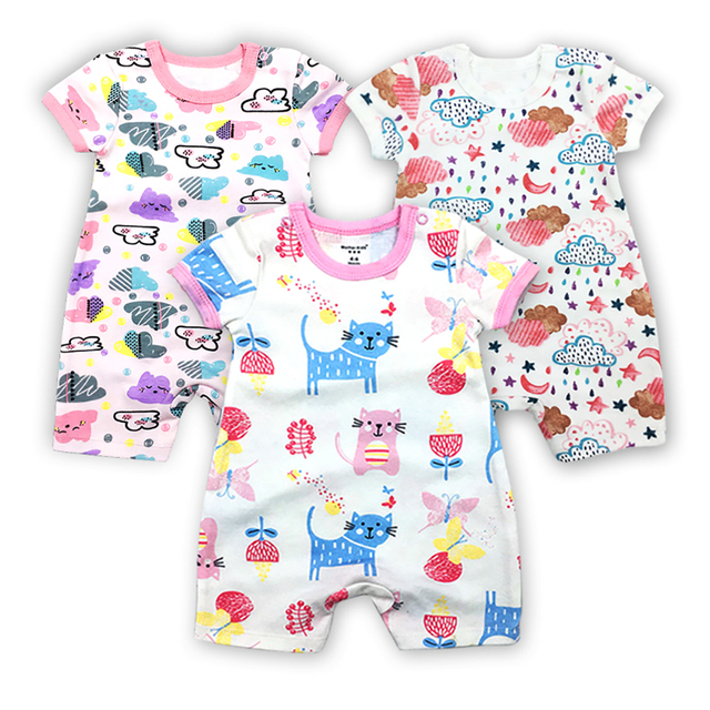 48abafc880836 3 Pieces/lot Baby Clothing Newborn jumpsuits Baby Boy Girl Romper Clothes  Short Sleeve Infant Product Baby Clothes